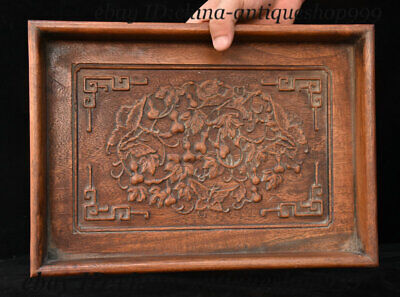 """14"""" Old China Huang Huali Wood Carving Gourd Butterfly Tray Salver Saucer Pallet"""