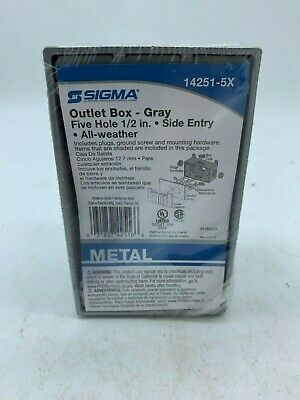 """Sigma Outlet Box GRAY Five 1/2 """" Holes Gray LOT OF 2"""