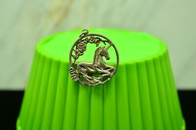 925 Sterling Silver Magical Shiny Floral Unicorn Round Pendant Charm #X27156