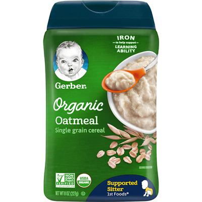 Lot 6 Gerber Organic Oatmeal Baby Cereal, 8 oz Each