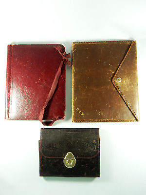 Vintage Bulk Job Lot of Three 3 Leather Folio Book Notepad Desk Set Antique