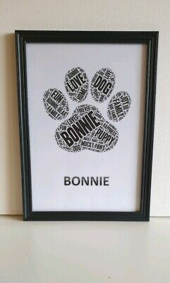 Personalised Pet art Paw Framed/ Dog Lovers Personalied Paw/dog or cat memorial
