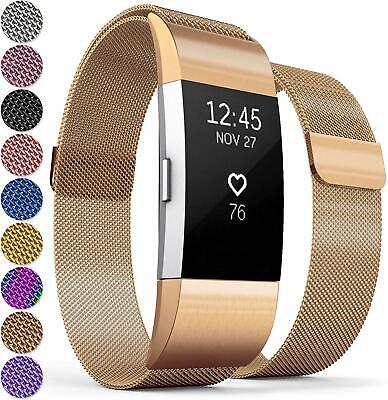 Fitbit Charge 2 Compatible Magnetic Milanese Loop Band, Watch Strap, Rose Gold.