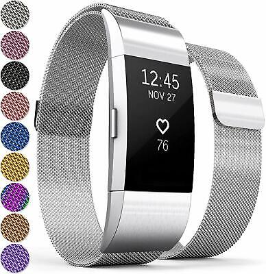 Fitbit Charge 2 Compatible Magnetic Clasp Milanese Loop Band, Watch Strap Silver