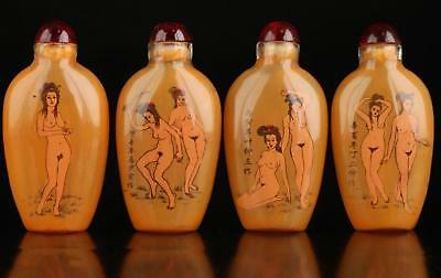 Collectable Four Glass Wonderful Naked Woman Inside Painted Snuff Bottle