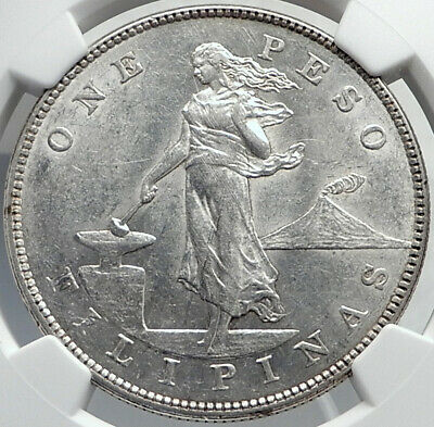 1903 PHILIPPINES Antique Silver LARGE PESO Coin under UNITED STATES NGC i81946