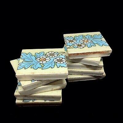 Antique Art Nouveau Floral Tile 1900s / Antique Ceramic Tile Set Of 10