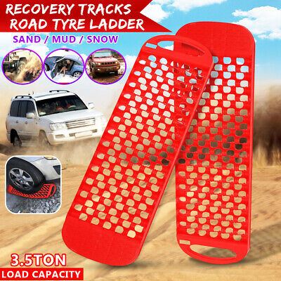 2Pcs Recovery Tracks Off Road Tyre Ladder Sand Mud Snow Grass 3.5Tons Red