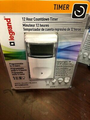 Legrand Pass & Seymour Digital Programmable Countdown Lighting Timer- RT12WCCV4