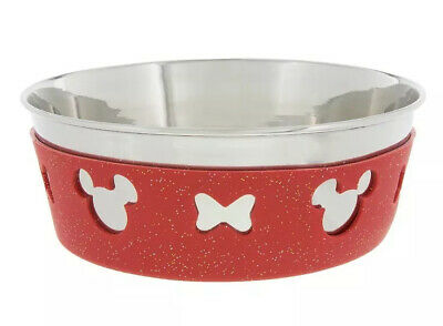 Disney Parks Tails Minnie Red Medium 4 Cup Stainless Steel Dog Pet Feeding Bowl