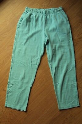 Womens Basic Editions Relaxed Fit Blue Elastic Pull On Athletic Capri Pants S