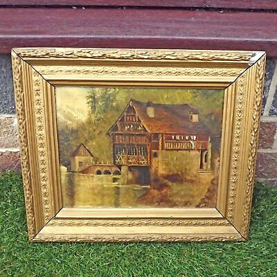 Oil Painting Of Boat House - Oil On Board Boathouse Late 19th Early 20th Century