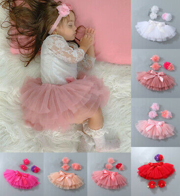 UK Toddler Newborn Baby Kids Girls Headband Tutu Skirt Photography Costume Dress