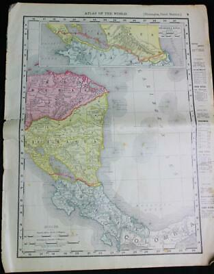 Rand Mcnally Atlas Map Page Canada Nicaragua Canal Central America 1899 Vintage