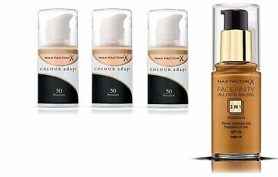 3 pack of 34mL Max Factor Colour Adapt + Facefinity 3-in-1 Foundation 95 Tawny