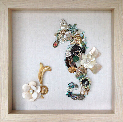 Framed Vintage Jewelry Art Shell Seahorse 10x10 Green Abalone Enamel