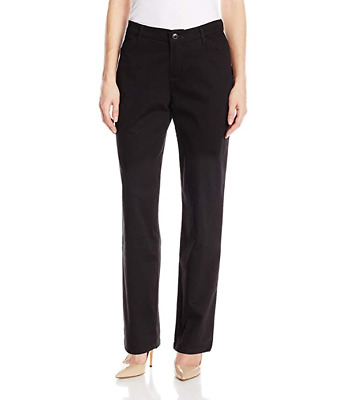 LEE Women's Relaxed Fit All Day Straight Leg Pant, Black, Size 8 Short
