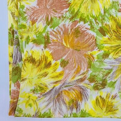 Vintage Cotton Blend Fabric 1960's Floral Yellow Brown Green Flowers