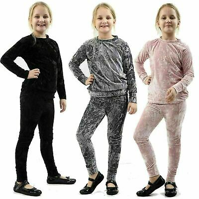 Kids Girls Crushed Velour Velvet Tracksuit Top Bottom Co-Ord Set Loungewear 7-13