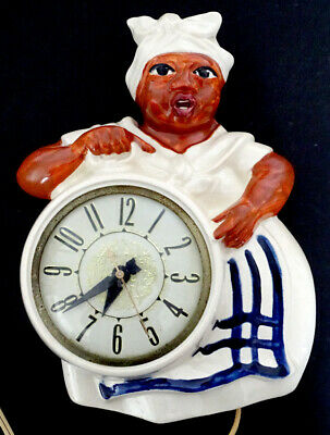 Vintage RED WING Pottery RACIST MAMMY Black Americana ELECTRIC WALL CLOCK