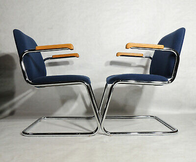 Two Postmodern Domore Chrome Blue Conference Armchairs Chair