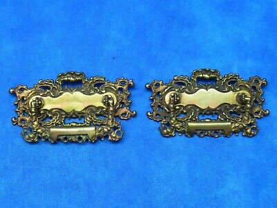2 Furniture Drawer Handles Pulls Antique Decorative Metal Marked GRB Co. 296
