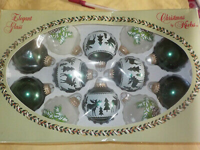 Christmas by KREBS 12 Glass Ornaments MOOSE / Pine Cones Green Tree Forest