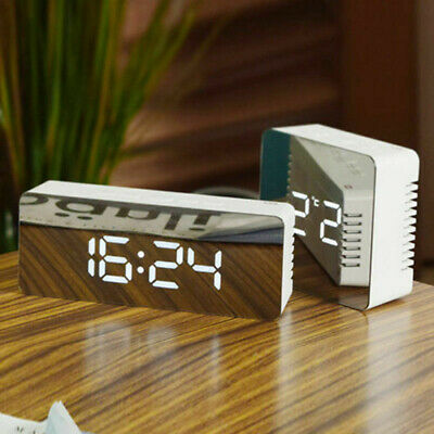 Alarm Clock Large Digital LED Display Portable Modern Battery Operated Mirror MH