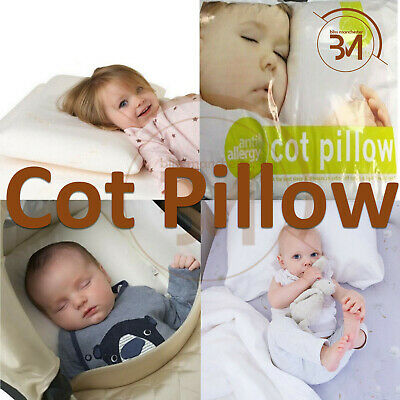 UK Cot Bed Pillow Comfort Hollowfibre Filling Nursery Kids Baby Junior Toddler