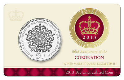 2013 AUSTRALIA 50 c CENTS 60TH ANNIVERSARY CORONATION OF QEII UNCIRCULATED COIN