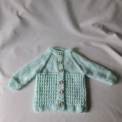 """New hand knitted pale green baby cardigan size 0-3 months 16"""" chest"""
