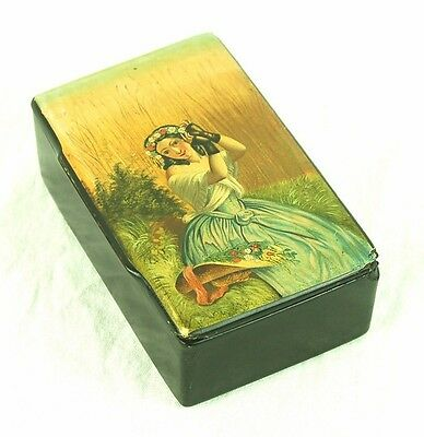 Antique Hand Painted Russian Lacquer Box Beautiful Girl With Flowers