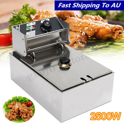 6L 2.5KW Commercial Electric Deep Fryer Kitchen Restaurant Frying Chip w/ Basket