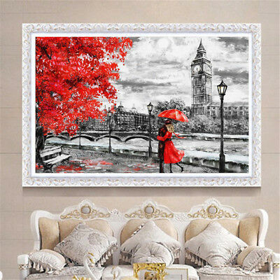London Big Ben Red Umbrella Oil Canvas Painting Wall Art Picture Print