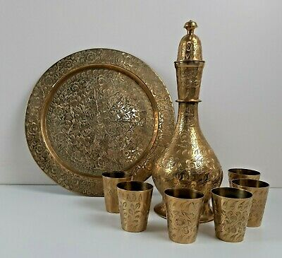 Vintage Etched Solid Brass British India Liquor Set Bottle Plate & Shot Glasses