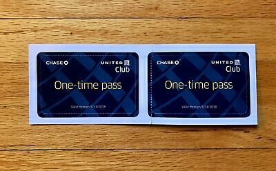 United Club One Time Passes (Two) Expiration 05/30/2019 (CHASE) E-delivery NOW