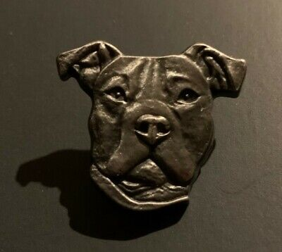 Pewter Pin Brooch of a Pit Bull Dog
