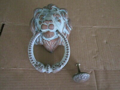 Vintage Door Knocker LARGE Brass Lion Head Patina Home Decor Curb Appeal