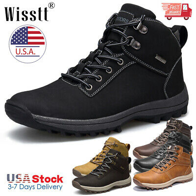 Men's Winter Outdoor Boots Waterproof Leather Hiking Work Shoes Lace Up Sneakers