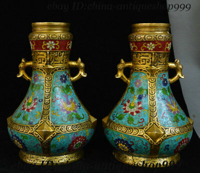 Old Chinese Bronze Cloisonne Enamel Beast Head Flower Bottle Vase Jar Flask Pair