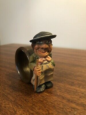 "Vintage Wood Hand Carved Man W/ Cane Figural 3"" Napkin Holder Folk Art Cool Rare"
