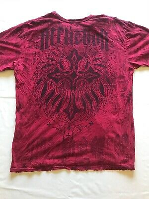 Affliction Live Fast Mens Short Sleeve Distressed Graphic T Shirt Red Size 2XL