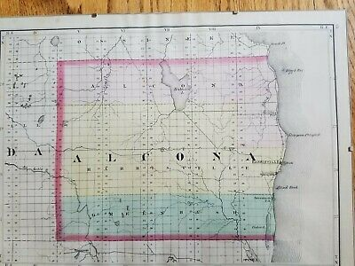 Antique 1874 map of Alcona and Oscoda Counties Michigan