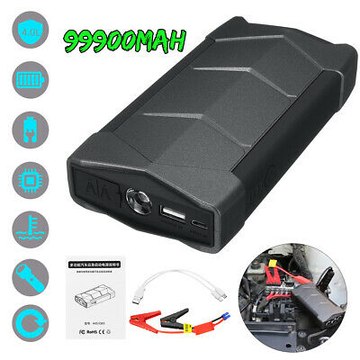 99900mah 12V Car Jump Starter Battery Power Bank USB Charger Rescue Pack