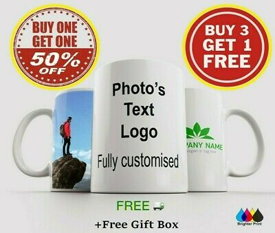 Personalised Photo Mug Cup Custom Design Image & Text Name Logo Quality Gift