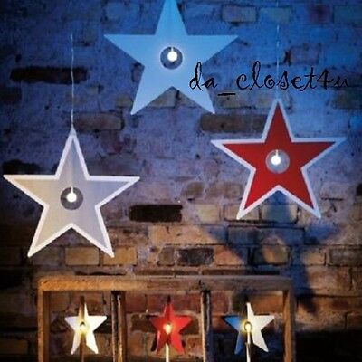 """IKEA STRALA Star LED Christmas Light Holidays Deco Red White or Silver 15"""" NEW"""