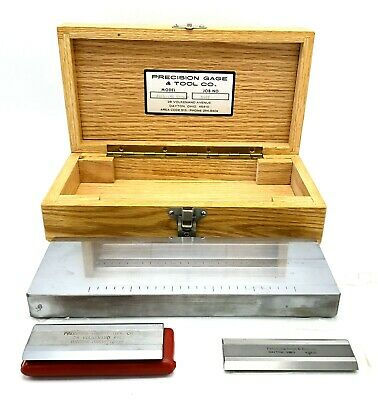 PRECISION GAGE & TOOL Model No. 6251-MU Chrome with 2 SCRAPERS & WOOD CASE; USA