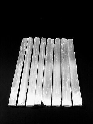 "Selenite Sticklets Crystal Wands Rough Raw Gypsum Reiki Sticks 8ct/ 8""in"