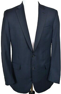 Peter Millar Mens Blazer Sport Coat Jacket Sz 42 Tall 100% Wool Two Button Blue