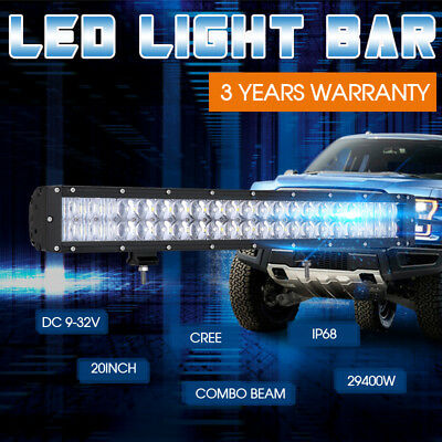 20inch Cree LED Light Bar Flood Spot Combo 12V24V 4X4 Offroad Work Driving 4WD